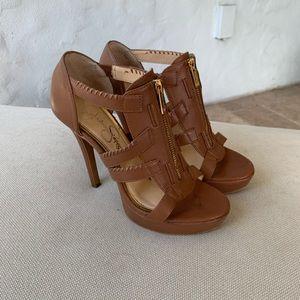 Jessica Simpson Light Brown Zipper Sandal Heels